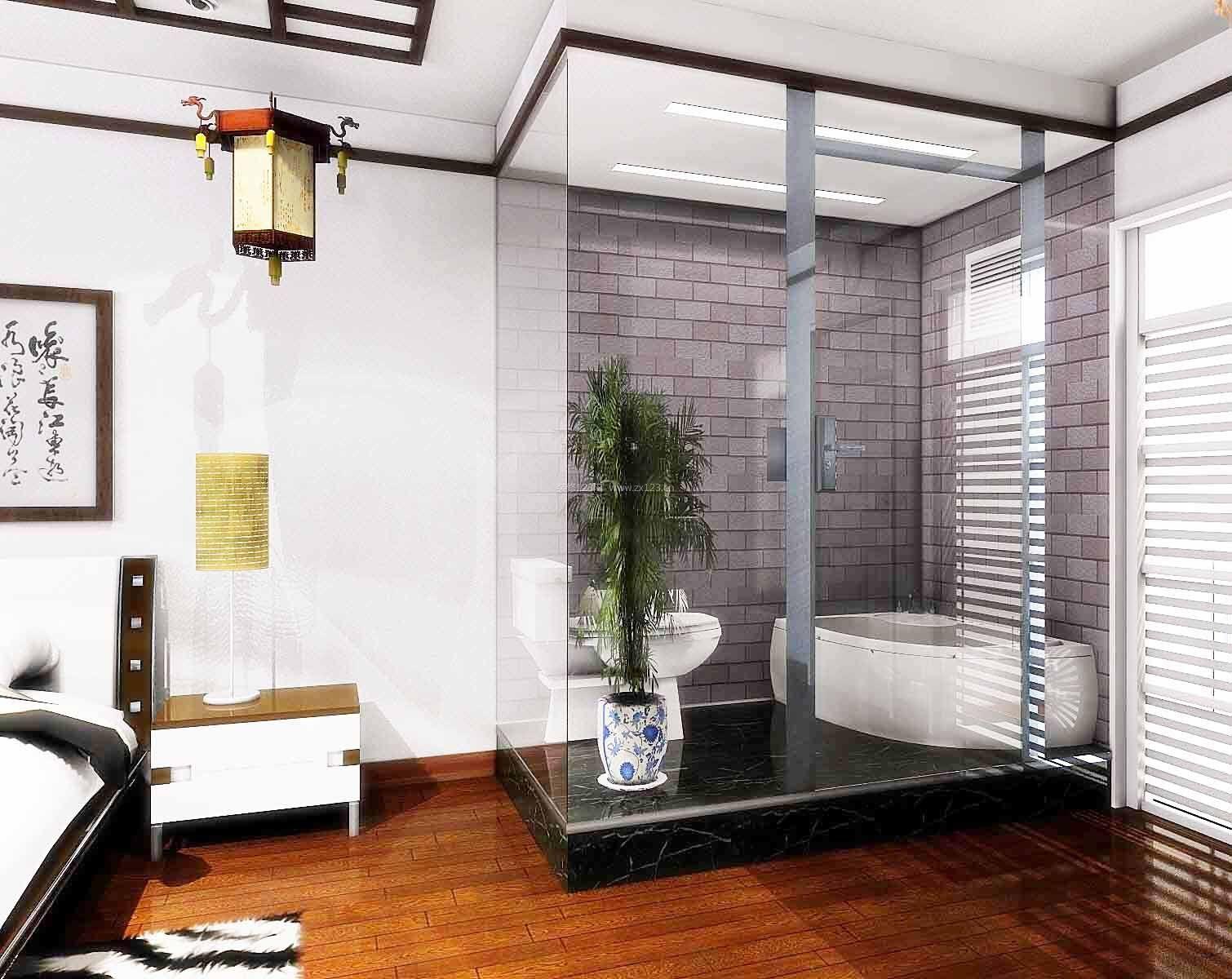 2017卧室卫生间玻璃隔断效果图欣赏图片