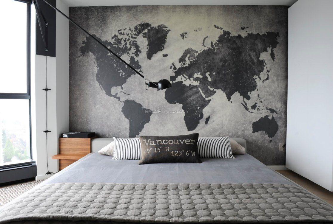 2017黑白灰卧室手绘墙壁画设计图片