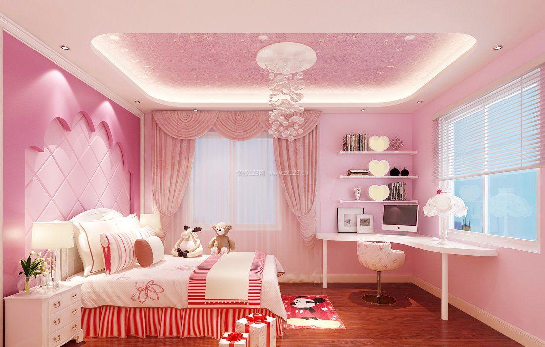 2017粉色儿童书房吊顶装修效果图