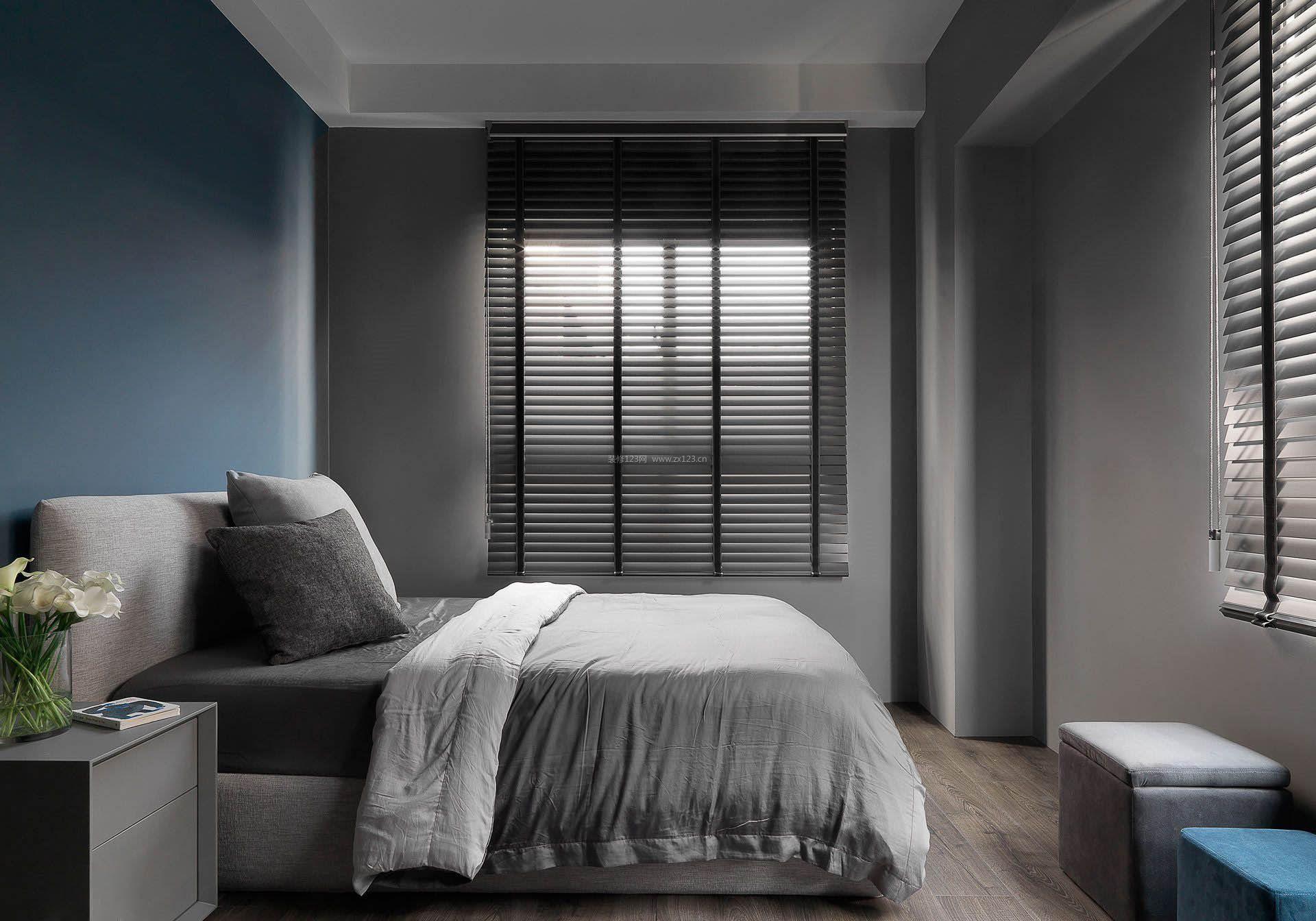 2017单身公寓黑白灰卧室装饰设计效果图