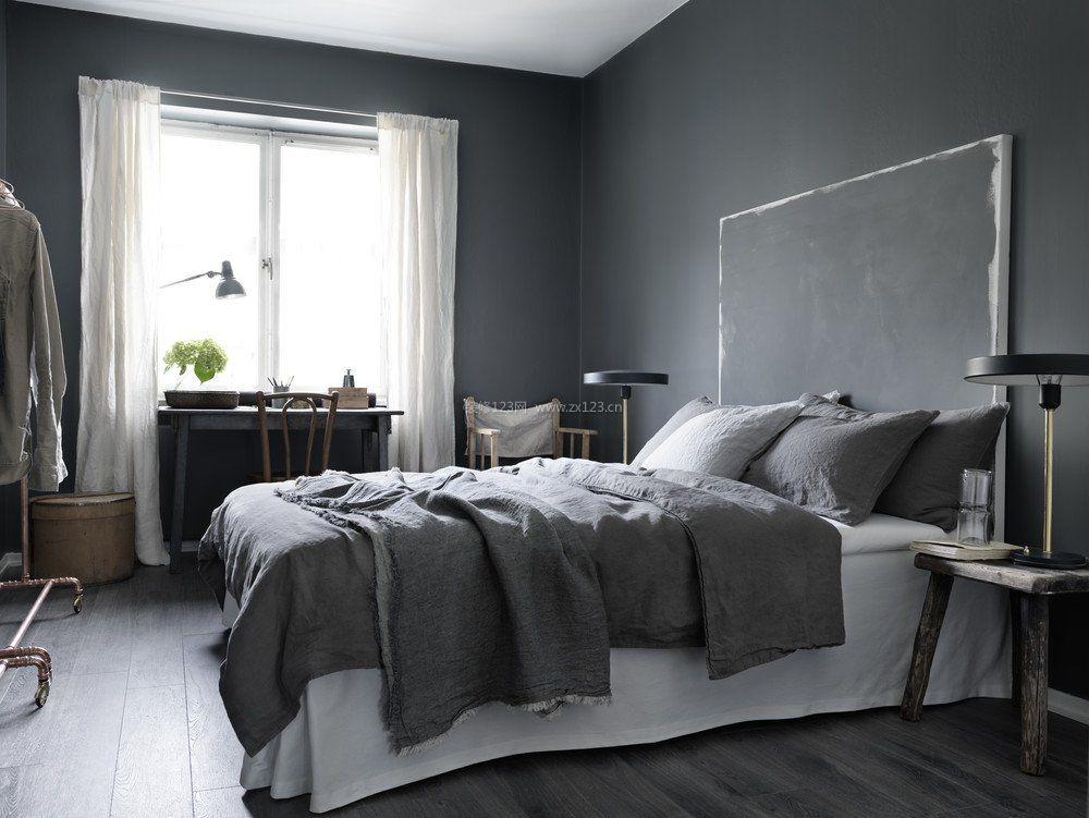 2017黑白灰卧室飘窗书桌装修设计图片
