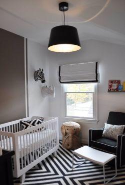 2017黑白灰婴儿卧室装修设计图