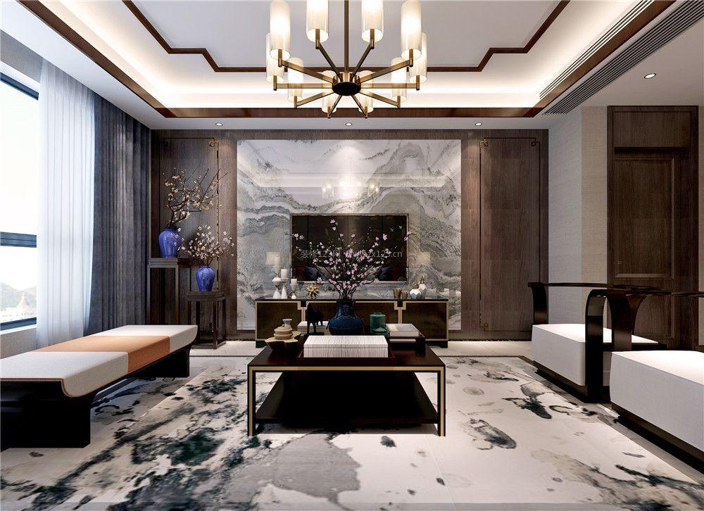 2017现代中式客厅装修图片 2017大理石电视墙图片