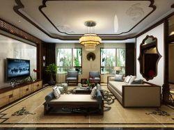 2017新中式客厅沙发背景墙造型装修效果图大全图片