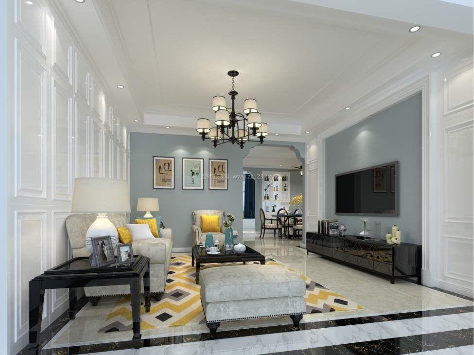 2017现代美式客厅灰色电视墙装修效果图片