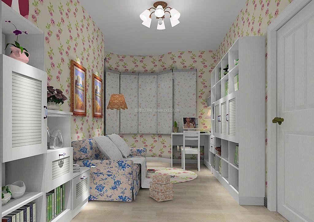 2017韩式田园家具客厅组合柜子设计图片_装修123效果图
