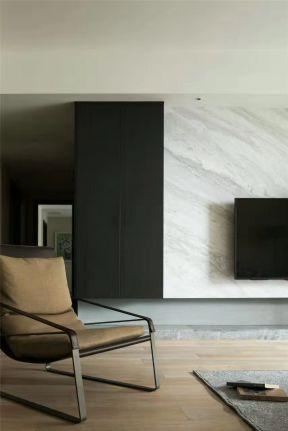 现代北欧风格装修效果图片 客厅石材电视背景墙效果图图片