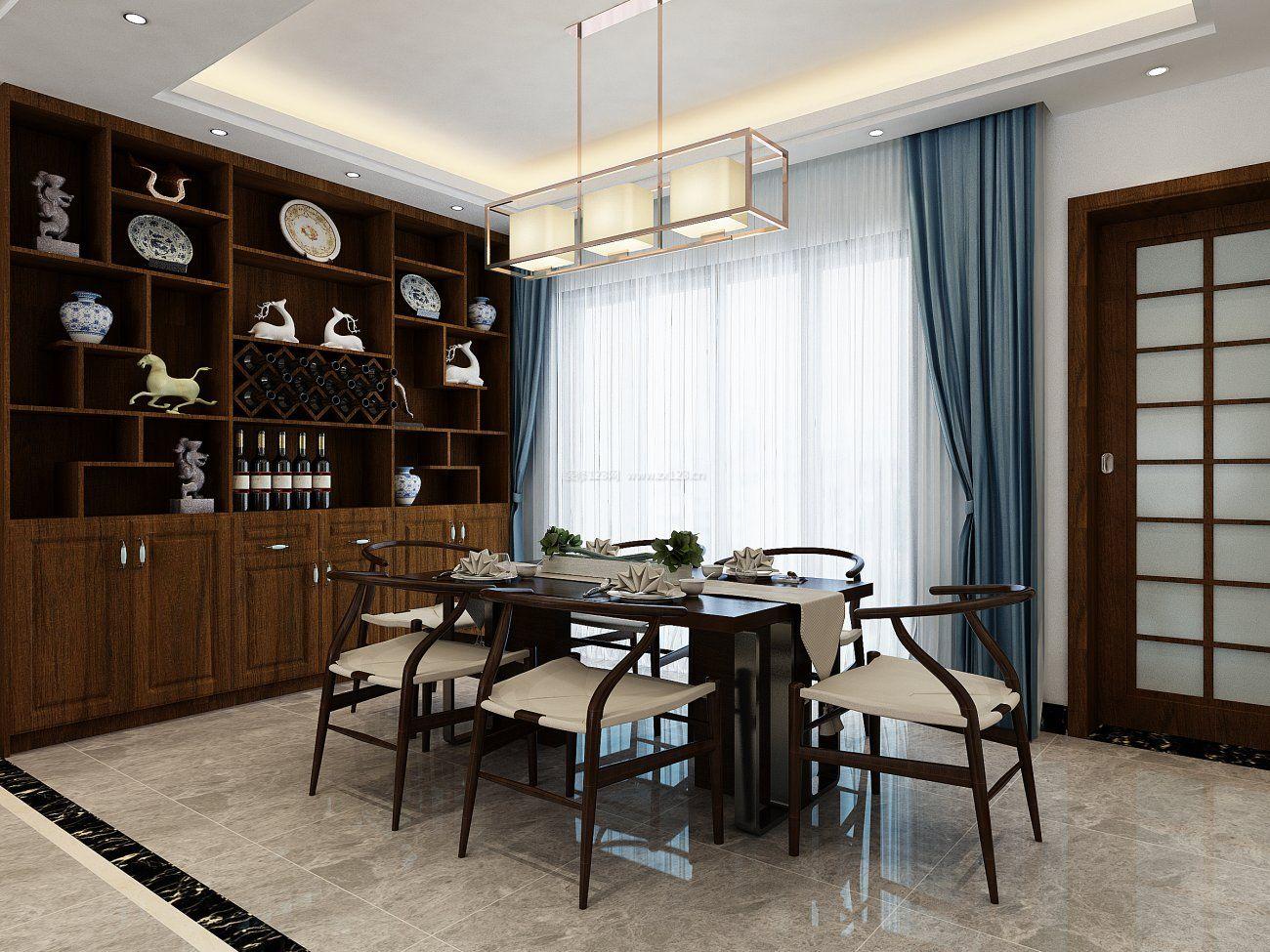 家装效果图 中式 新中式风格餐厅实木酒柜设计装修效果图2017 提供者