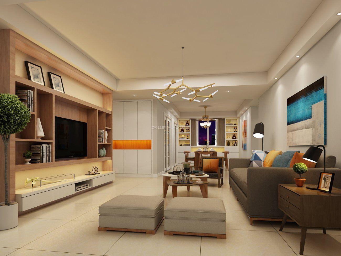 2017现代客厅电视墙柜子装修效果图赏析