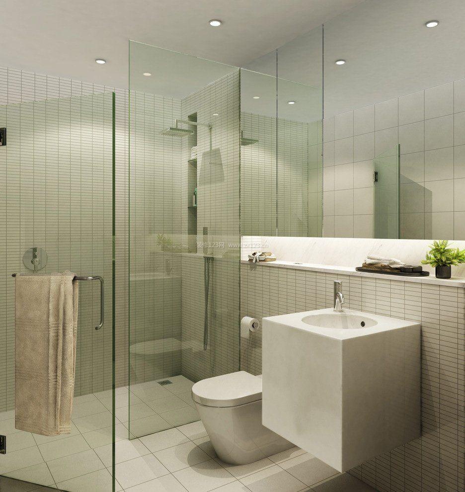 2017小户型浴室玻璃门室内装饰效果图