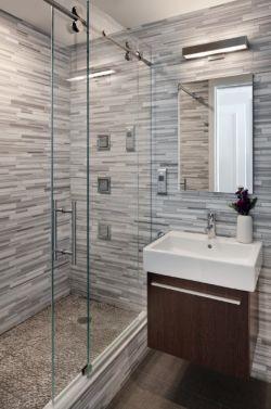 2015现代家装浴室玻璃门设计效果图