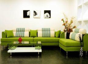 2019绿色的客厅皮沙发图片图片