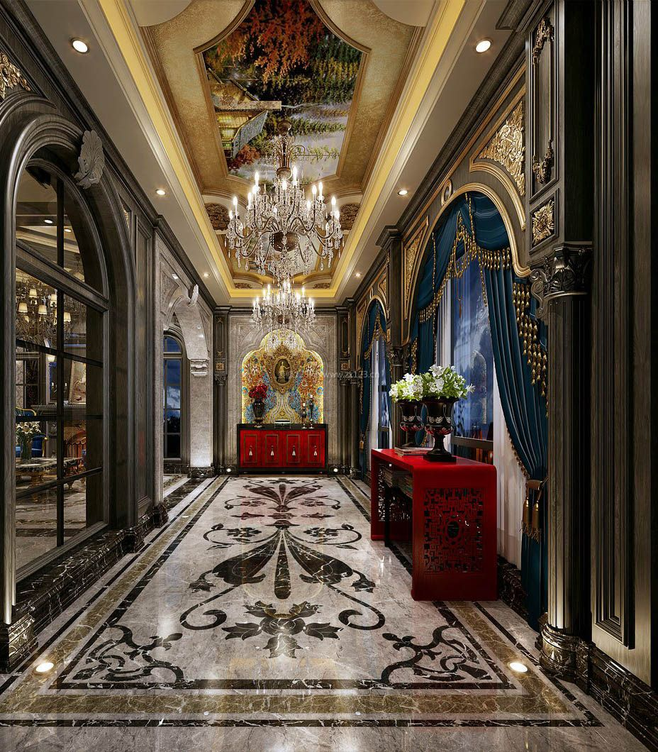 2017现代图片长摆件走廊玄关别墅鄂州市建筑设计院。黄石
