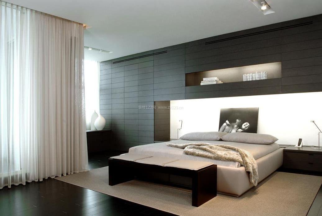 2017黑白灰现代卧室装修设计图片