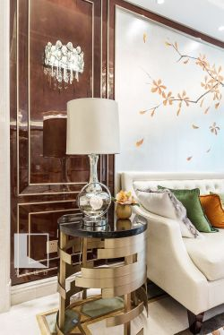 2017港式风格装修客厅背景墙设计效果图图片