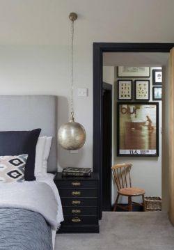 2017黑白灰現代臥室門框設計圖片