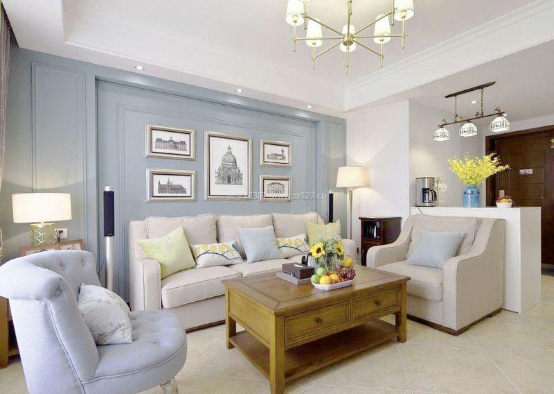 现代美式客厅沙发背景墙装修效果图大全2017图片