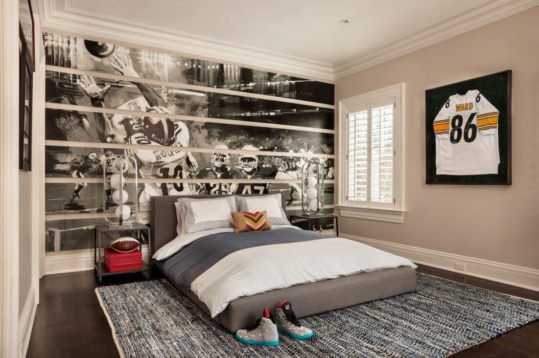 2017美式家装男生卧室设计效果图图片