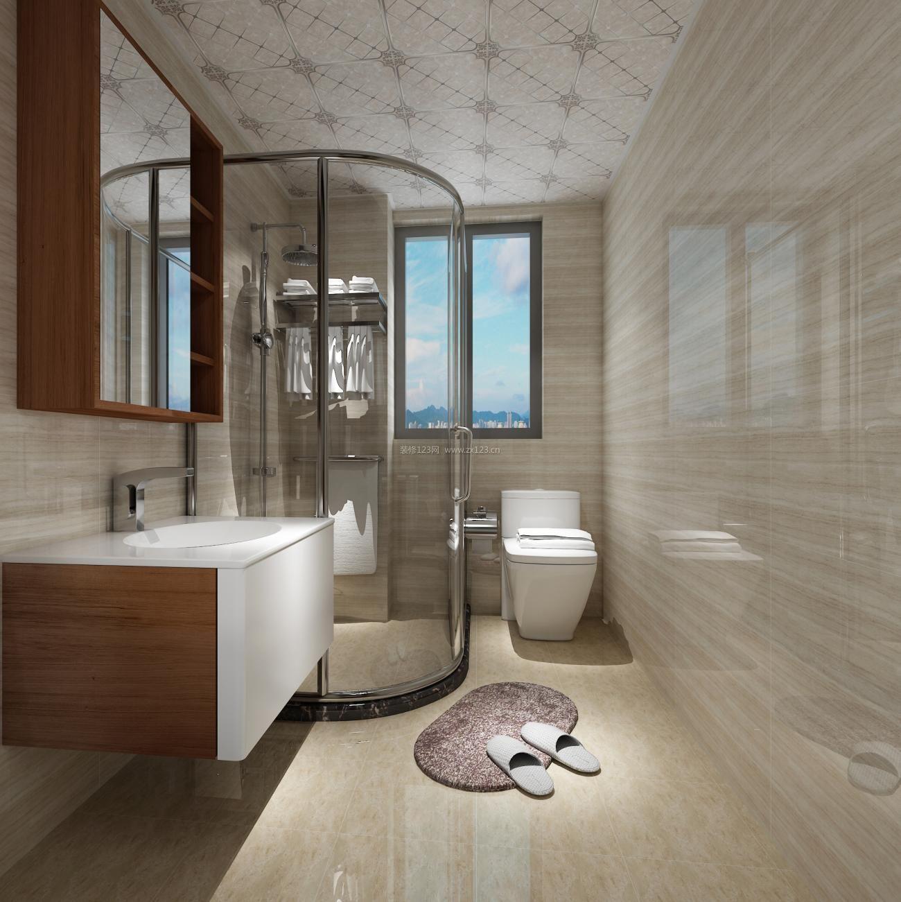 2017简约美式卫生间玻璃淋浴房装修效果图