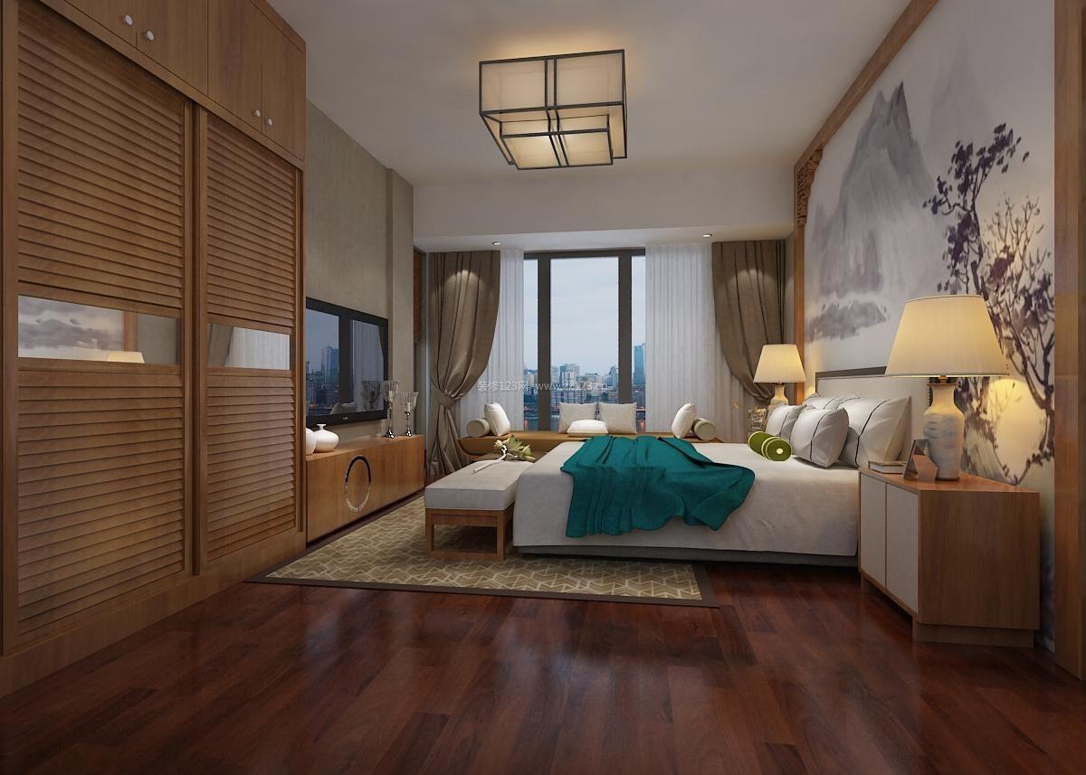 2017大户型新中式卧室实木衣柜移门装修效果图