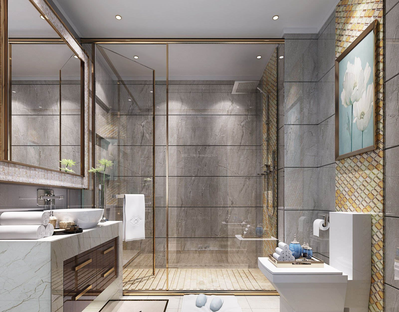 2017浴室玻璃门装饰效果图片_装修123效果图
