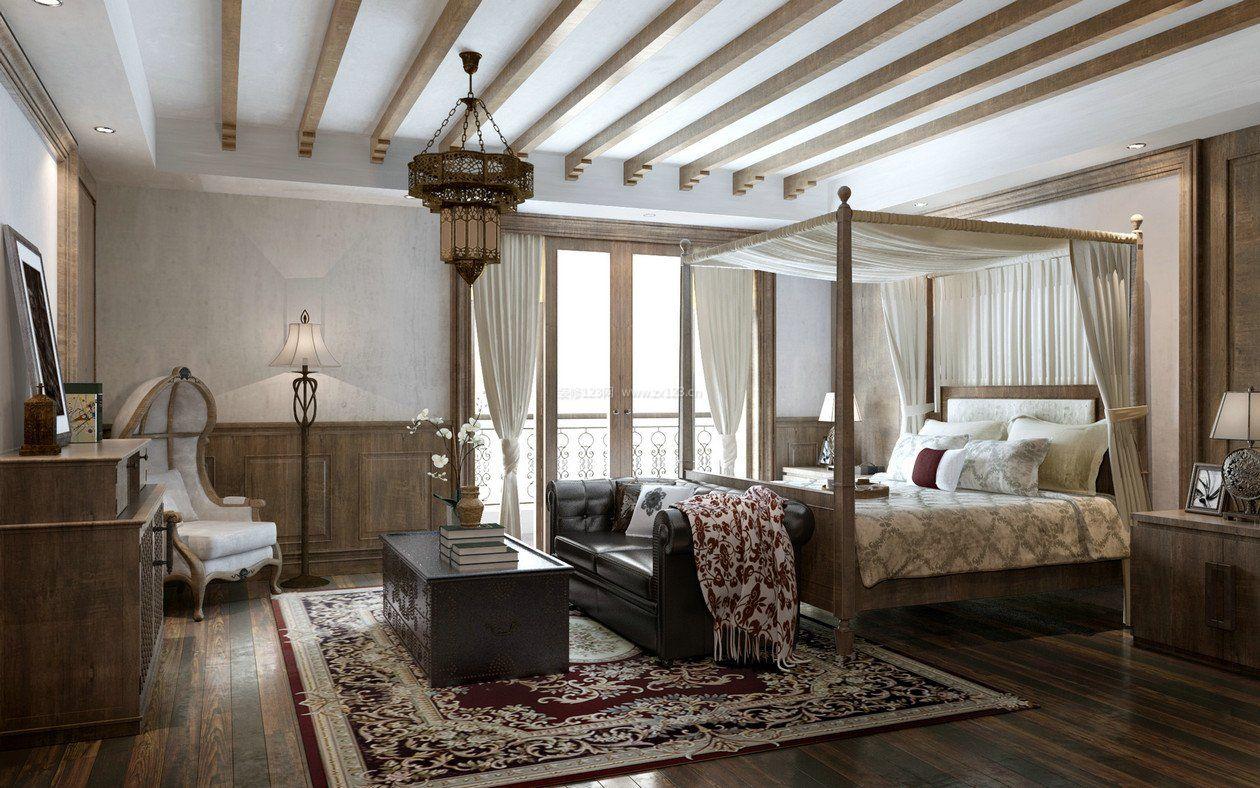 2017豪华美式卧室整体木质装修设计效果图片