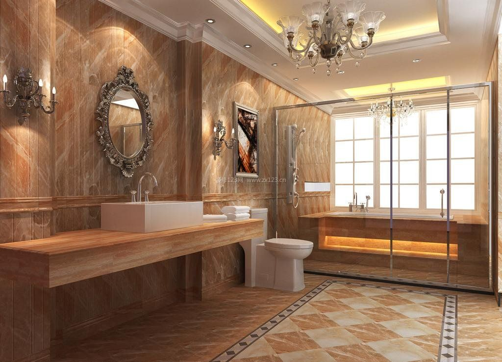 2017别墅装修玻璃浴室效果图片欣赏大全
