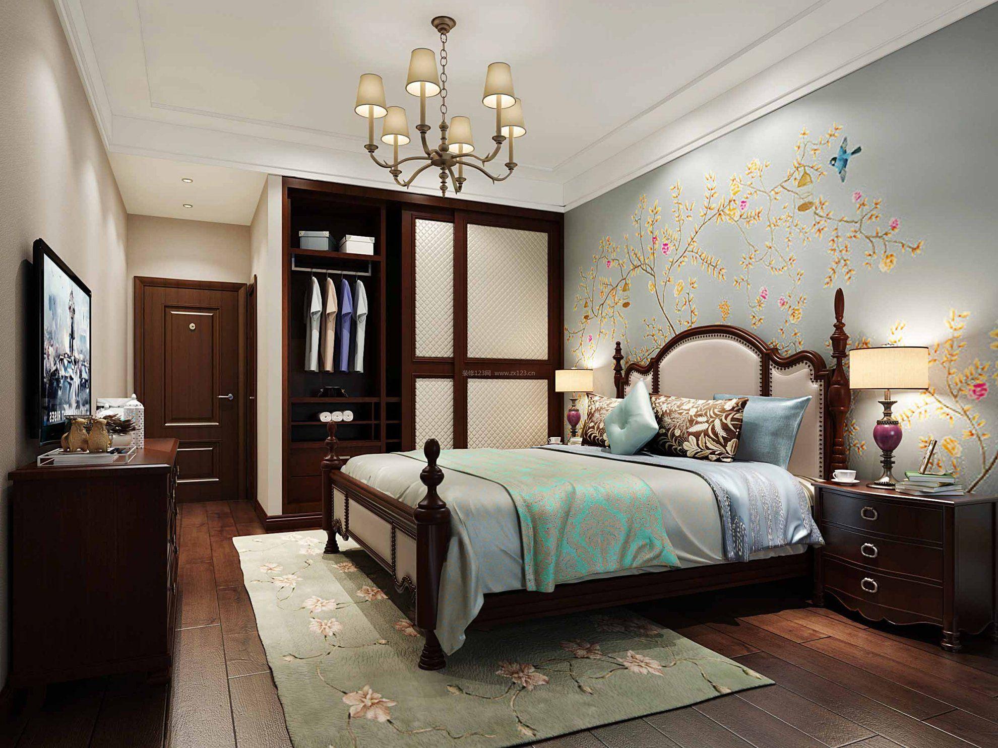 2017豪华美式卧室彩绘壁纸效果图片