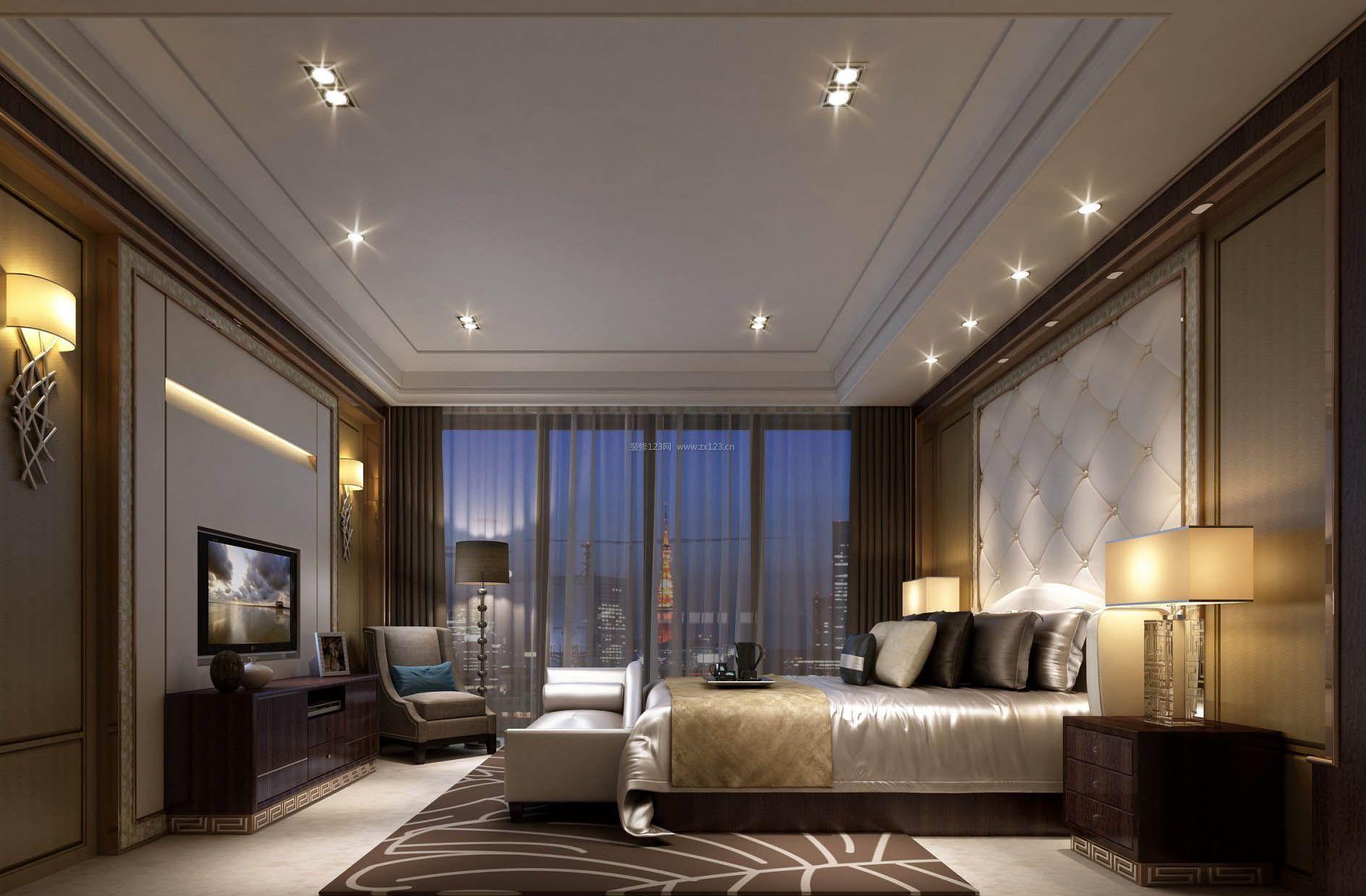 2017豪华美式卧室灯光效果图片欣赏图片