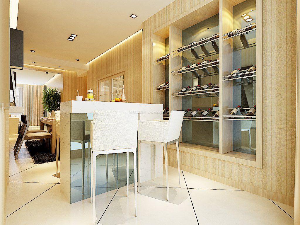 2017港式风格装修客厅餐厅酒柜设计效果图图片