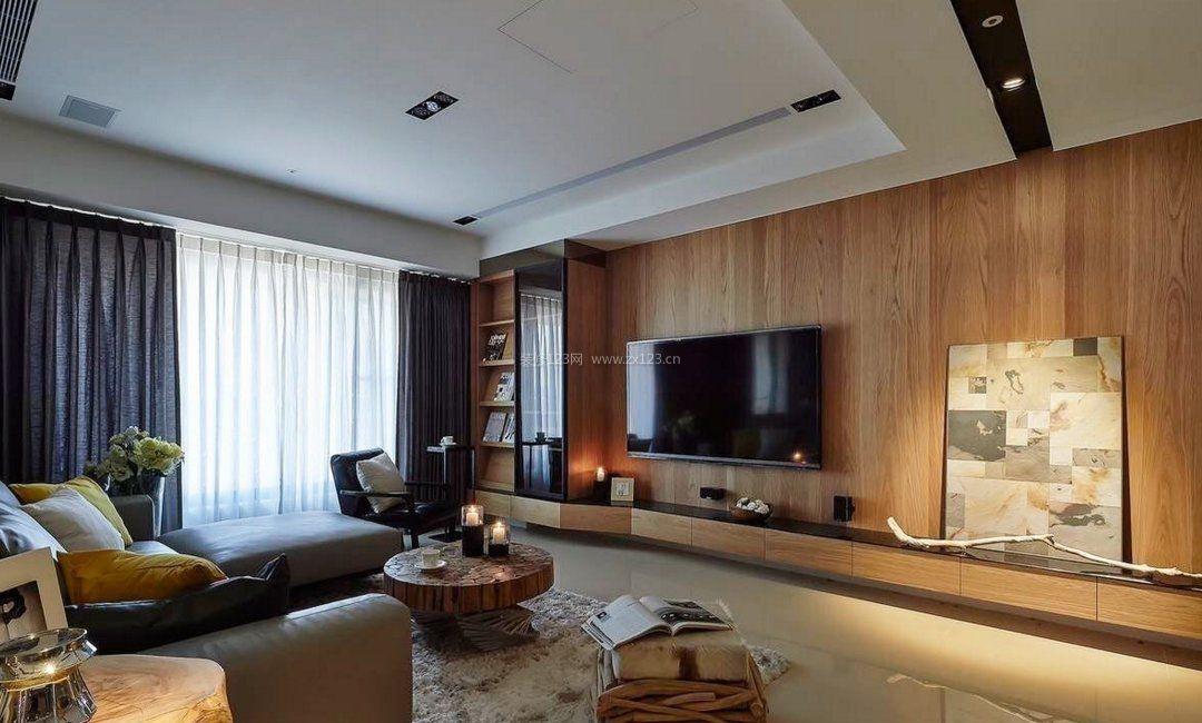 设计效果图 现代港式风格客厅大理石电视背景墙装修效果图片_装修123