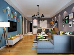 2017现代北欧风格客厅盘子背景墙装修效果图片图片