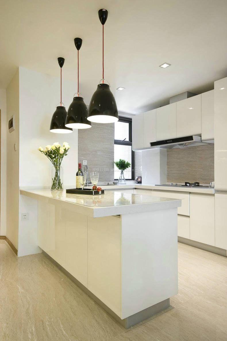 2017一体式厨房简约吧台装修设计图片