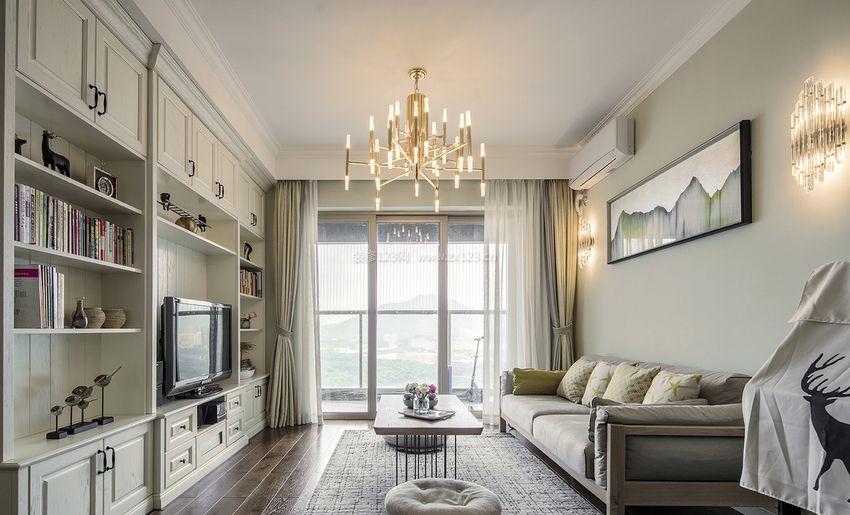 2017现代北欧风格客厅定制电视柜装修效果图片