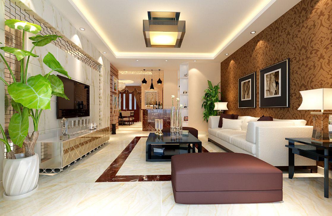 现代新房客厅装修效果图 2017客厅沙发背景墙壁纸图片