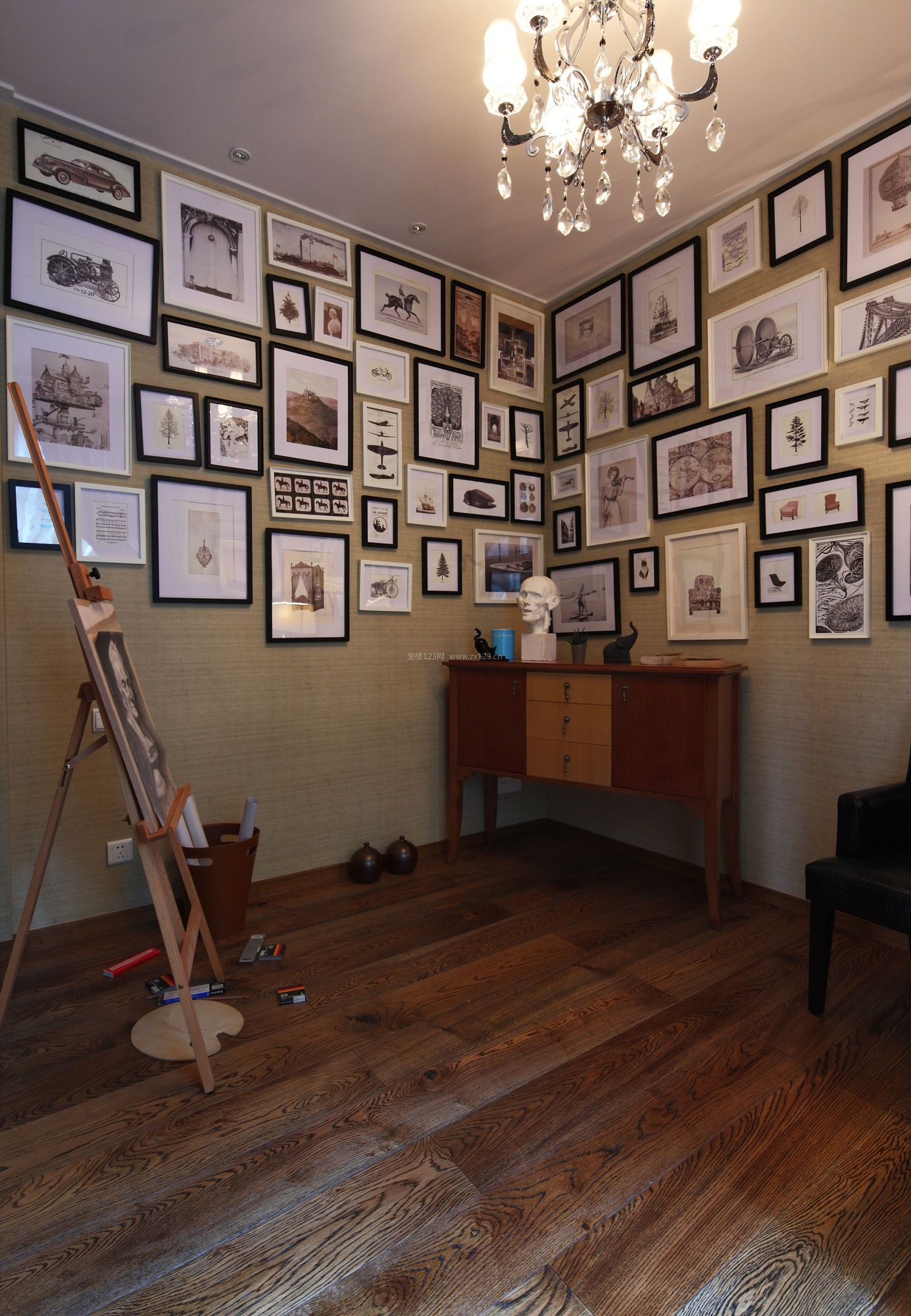 家庭画室室内木地板装修效果图2017