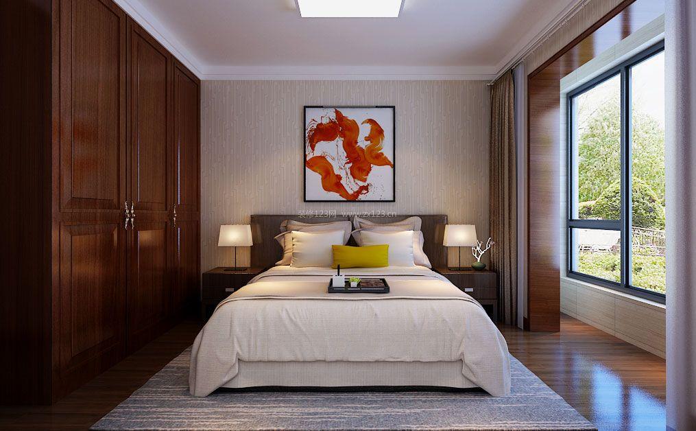 2017新中式卧室实木整体衣柜装修设计图图片