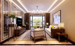 2017新中式客廳大理石電視背景墻裝飾圖片