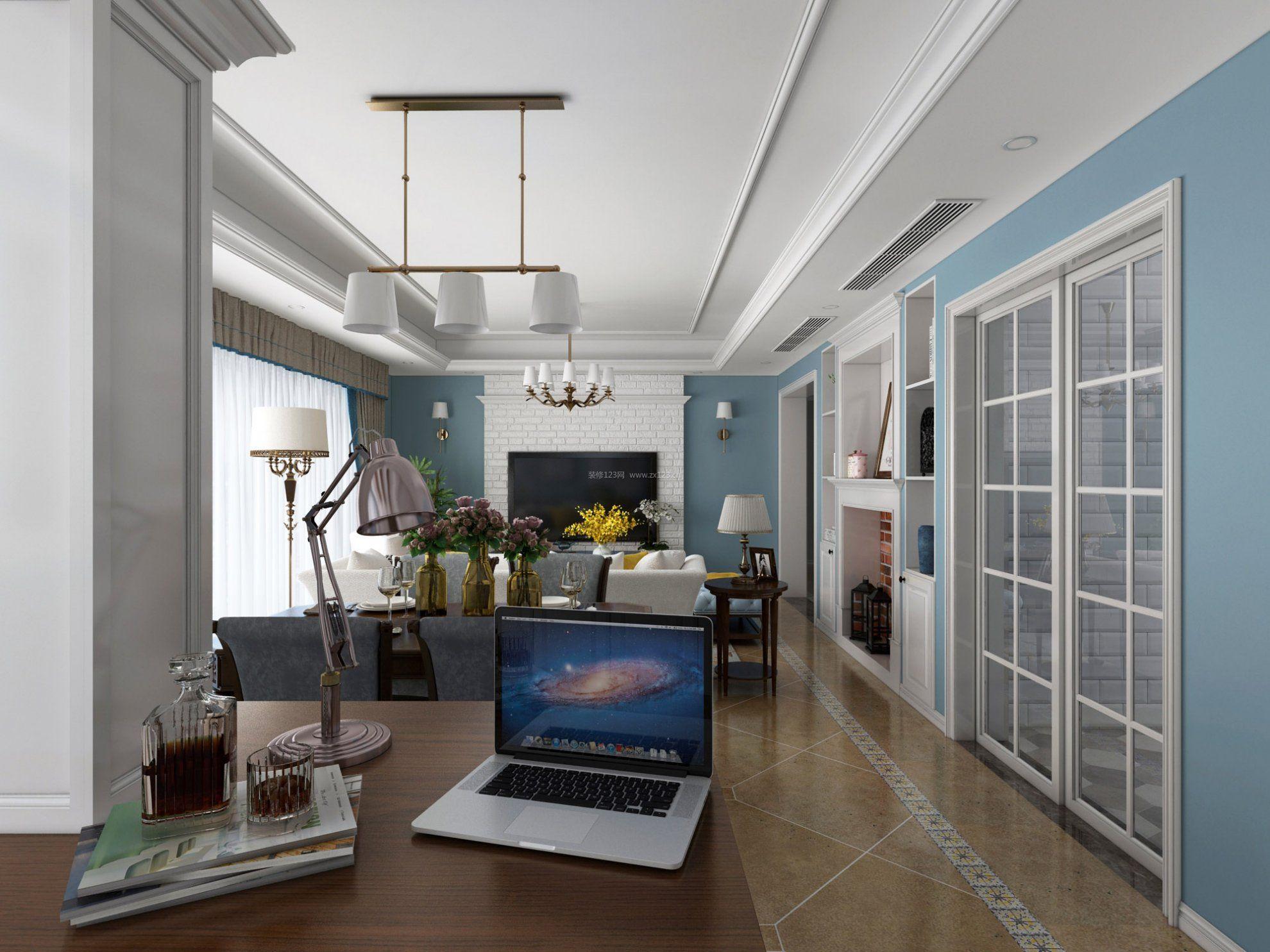 2017美式风格客厅吊顶装饰效果图图片