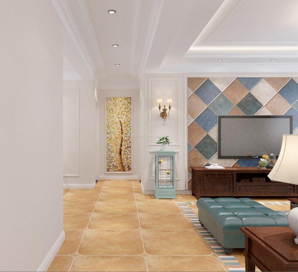 2017美式风格客厅电视墙瓷砖装饰效果图_装修123效果图