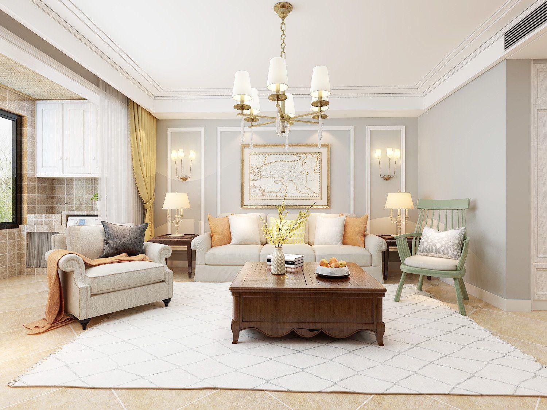 2017美式家装风格客厅装饰效果图