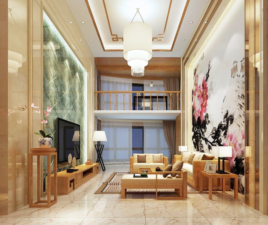2017中式混搭复式楼客厅装修图片图片