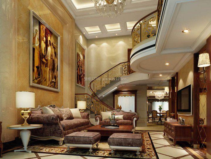 2017混搭复式楼楼梯设计客厅装修图片