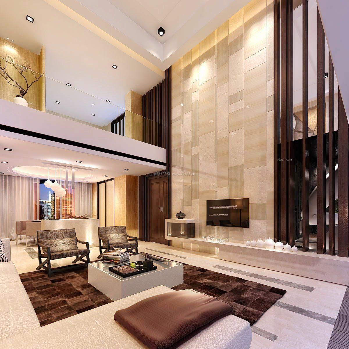 2017现代混搭复式楼客厅装修图片_装修123效果图图片