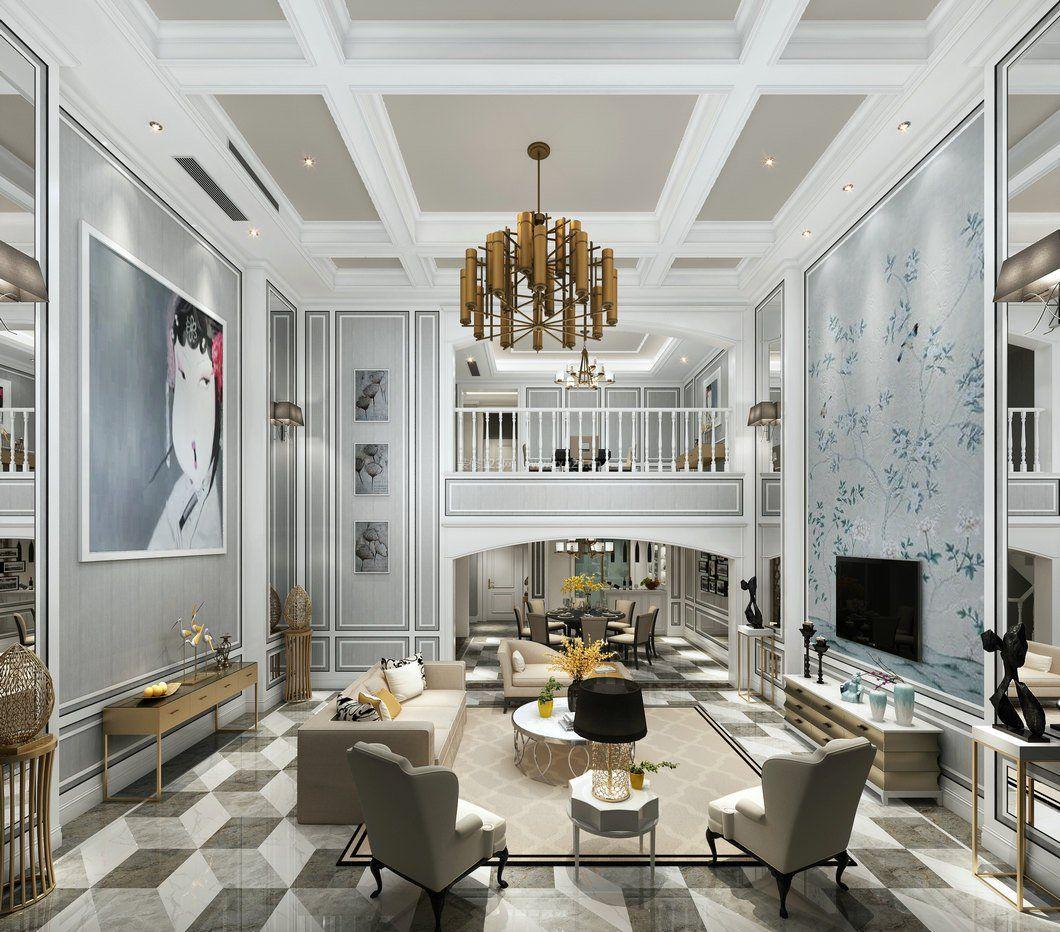 2017混搭复式楼客厅吊顶造型装修图片图片