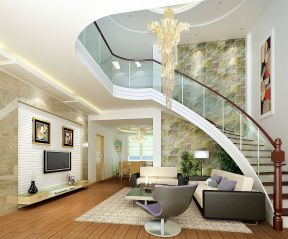 2017混搭复式楼客厅楼梯扶手装修图片