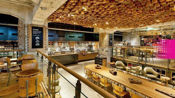 咖啡店艺术吊顶装修效果图片