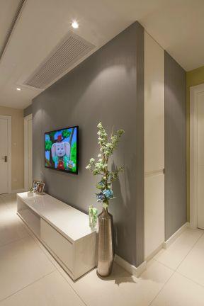 2017简单现代装修效果图 2017客厅白色电视柜图片