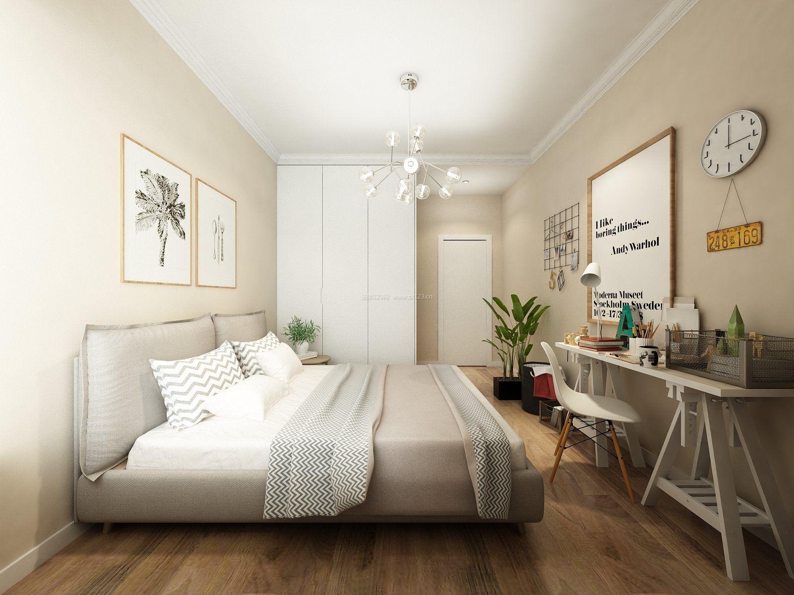 二室一厅新房卧室浅色木地板布置效果图图片