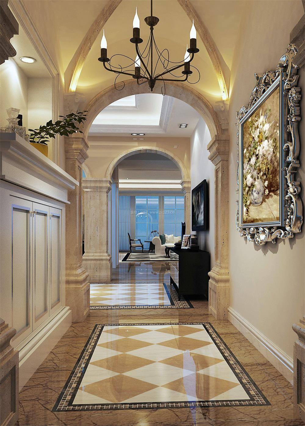 2018东南亚别墅走廊地砖设计图片_装修123效果图